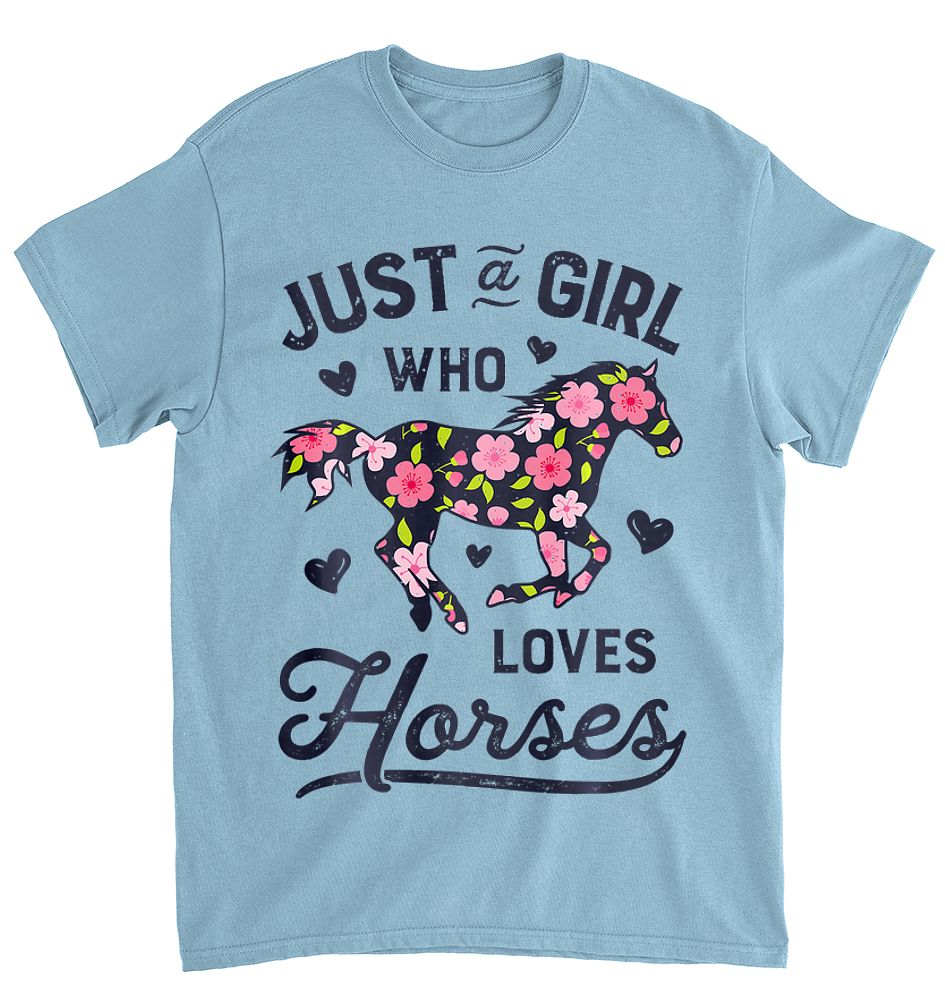 This Girl Runs On Jesus and Horses Tshirt Short-Sleeve Womens